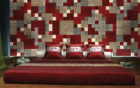 lether skin mosaic asian bedroom 1 Leather Skin Mosaic by Silven   walls are alive