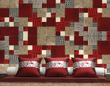lether skin mosaic asian bedroom 2 Leather Skin Mosaic by Silven   walls are alive
