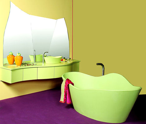 ligne evolution ginkgo bathroom Ginkgo basin and bathtub by Ligne Evolution