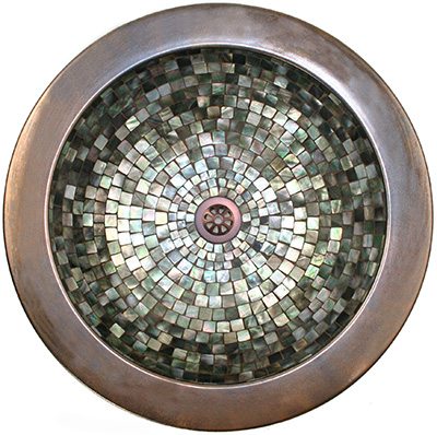 linkasink mother of pearl mosaics sink New Product Debut by Linkasink   Patterned Bronze and Mother of Pearl Mosaic sinks