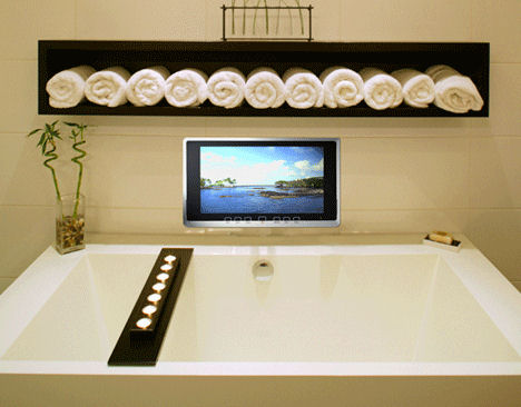 luxurite wireless waterproof TV installed Wireless Waterproof TV from Luxurite   a Mirror TV as well