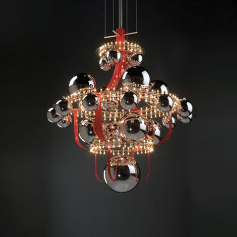 luxury suspension lighting quasar royal bb red Luxury Suspension Lighting from Quasar   Royal BB by Edward van Vliet