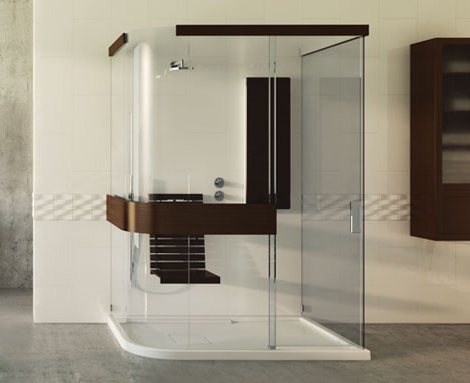 maax wood shower Wood Shower Seat and Wood Shower Floor add luxury to Maax Expose shower