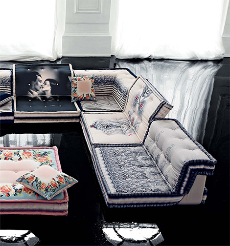 mah jong sofa detail jean paul gaultier Couture Furniture from Roche Bobois