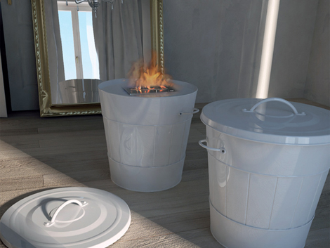 maisonfire fireplace spazzacamino 2 Mobile Fireplace by Maison Fire inspired by trash can