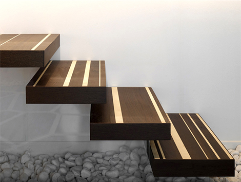maple wenge wood stairs design Creative Wood Designs   maple / wenge wood combo by Menotti Specchia