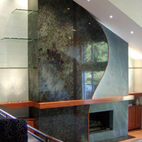 Contemporary Marble and Concrete Fireplace from Mark Concrete