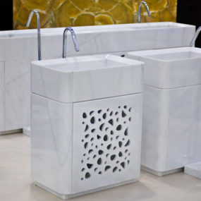 White Marble Double Sink Vanity, Washbasins and Shower Tray by Marsotto