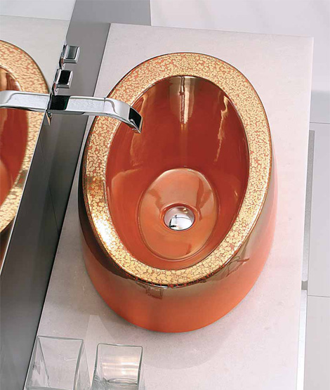 mastertecno volume vessel orange Porcelain Sink Collection with 'Magma' effect from Mastertecno