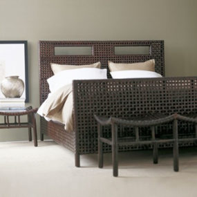 Woven Rawhide Bedroom by McGuire Designs – new woven furniture trends