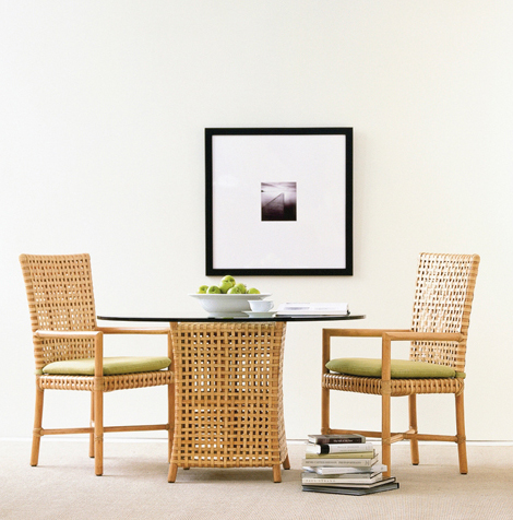 mcguire designs woven rawhide dining table Woven Rawhide Dining Table by McGuire Designs   new woven furniture trends