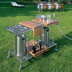Outdoor Serving Carts on Wheels – Suzette cart by Metalco