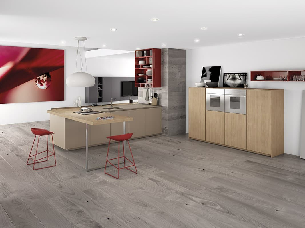 Minimalist Kitchen With Red Accents By Comprex