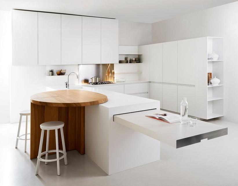 Minimalist white kitchen with breakfast nook slim by elmar