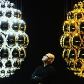 Mirrored Chandelier: Uovo Black Pearl by Lasvit