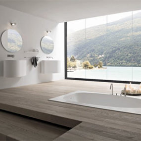 Modern Elegant Bathrooms – Vela bathroom in black & white by Rexa
