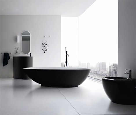 modern elegant bathrooms vela black white rexa 3 Modern Elegant Bathrooms   Vela bathroom in black & white by Rexa
