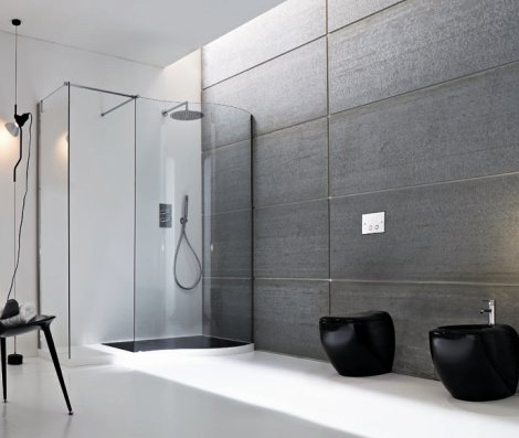 Modern Elegant Bathrooms Vela Black White Rexa 4.