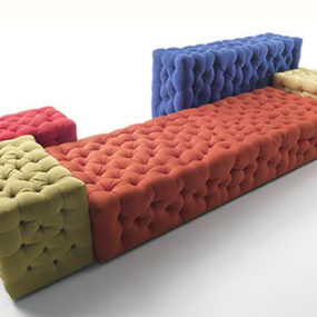 Modern Modular Sofa – button tufted La Michetta by Meritalia