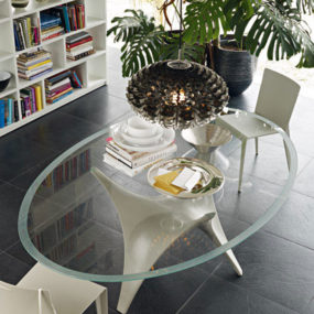 Modern Round Glass Dining Table by Molteni – Arc