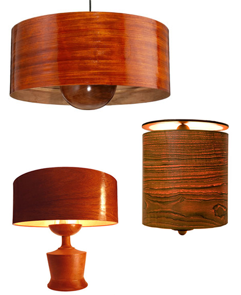 Wooden Lamps and Wooden Lamp Shades by Phosphoria