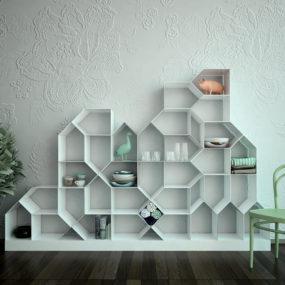 Modular Magnetic Bookcase by Antonella Di Luca