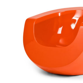 Moon Orange Fiberglass Chair by Mike To