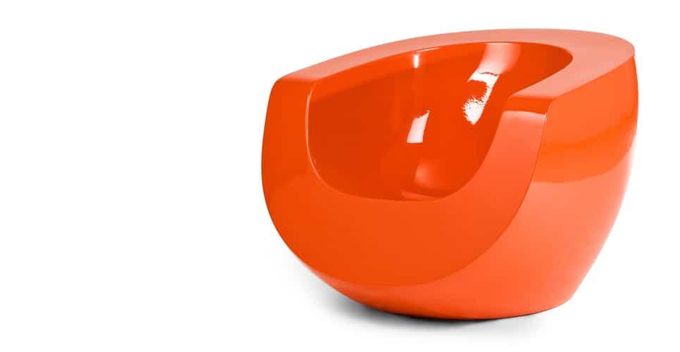 Moon Orange Fiberglass Chair By Mike To