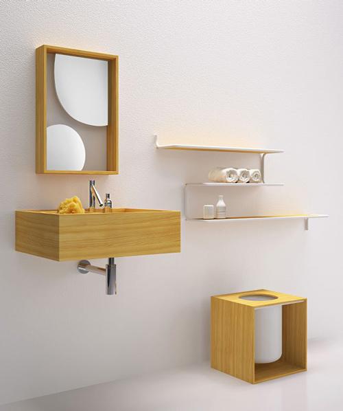 nendo bathroom furniture bisazza bagno 2 Minimalist Bathroom Furniture in Larch Wood by Bisazza Bagno   Nendo