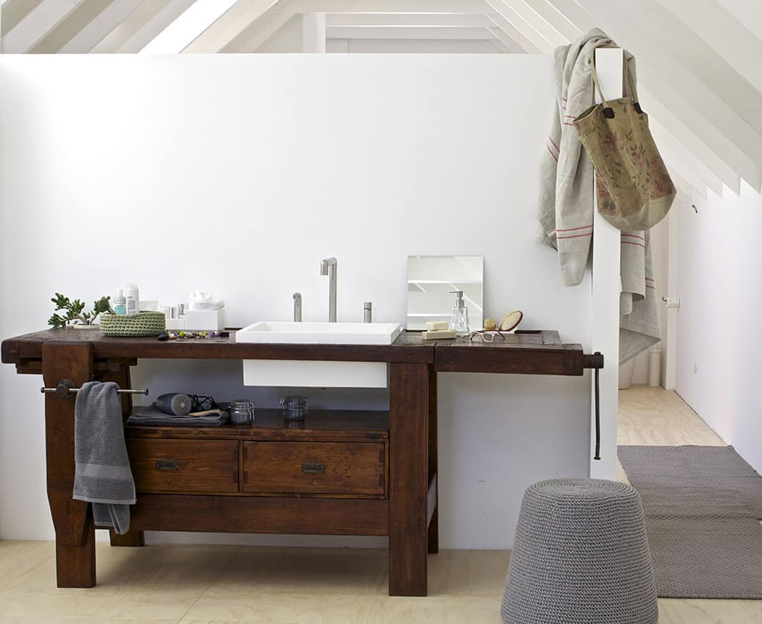 Attractive View In Gallery Old Carpenter Table Made Into Bathroom Vanity By