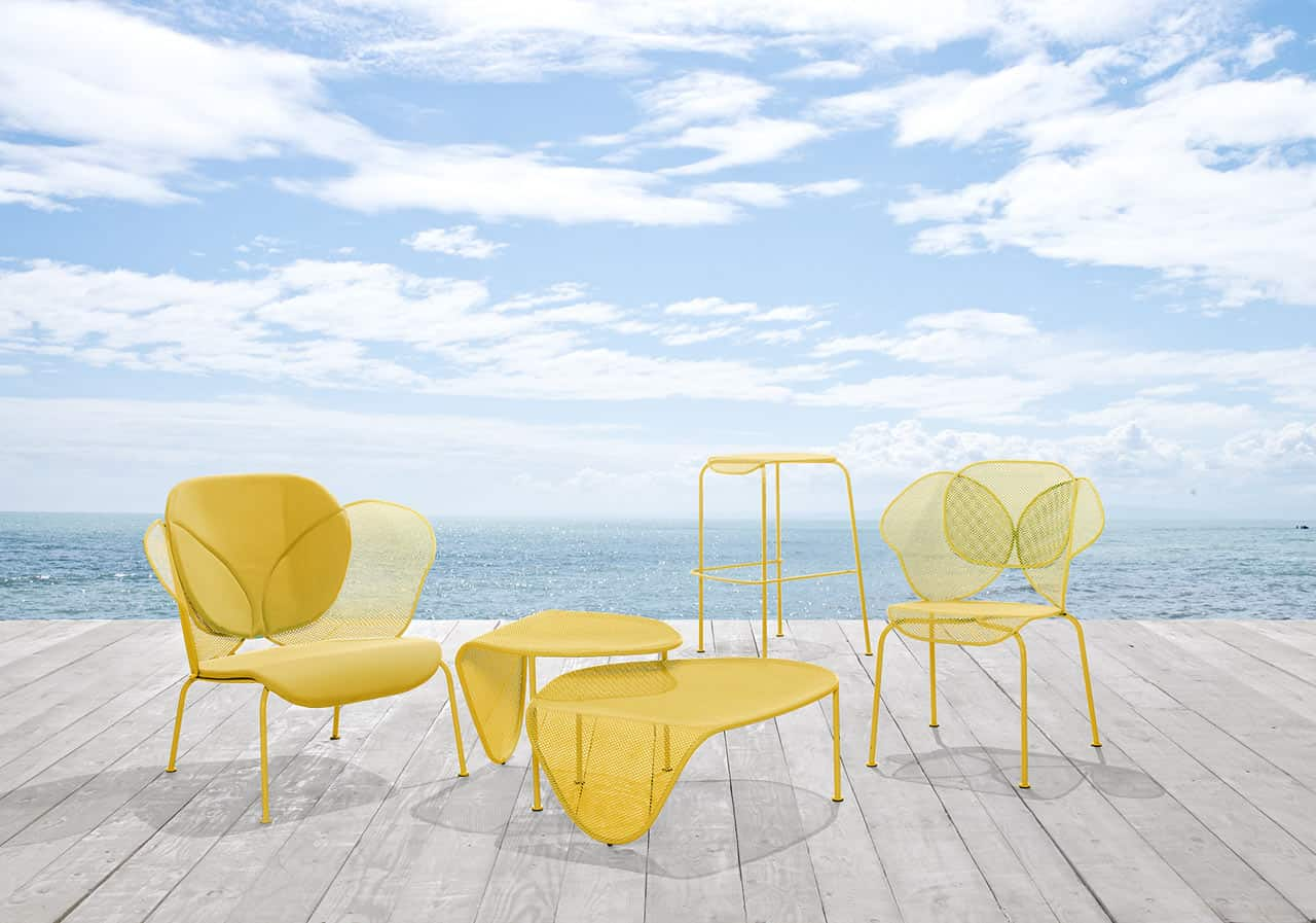 Organic shaped sunny colored outdoor furniture by areadeclic