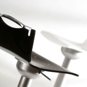 Metal Bar Stool from Ozzio transforms into a dining chair