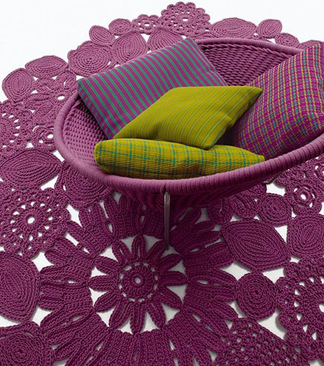 paola lenti woven chair nido Indoor Woven Chair Nido from Paola Lenti   beautiful design in vivid purple