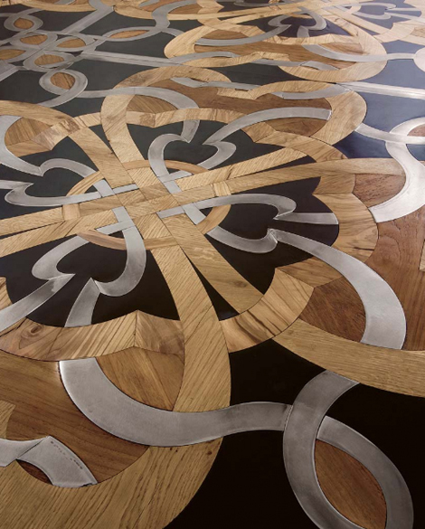 parchettificio wood floor mosaic calimala 2 Wood Floor Mosaic with steel and stone inserts by Parchettificio