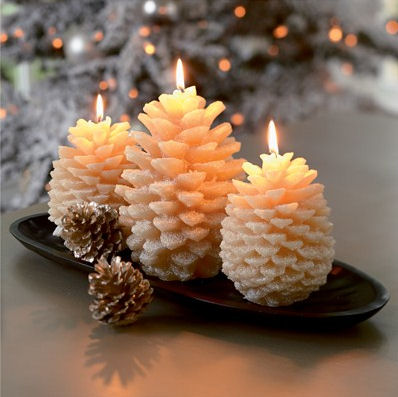 pinecone candles Pinecone Candles from Crate & Barrel   Bring the nature inside this Christmas
