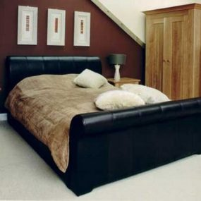 Leather Sleigh bed from Pinetum – the handcrafted fine furniture bed