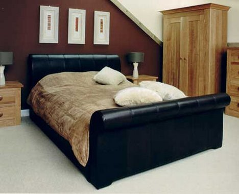 pinetum leather sleigh bed