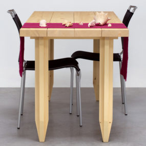 Playful Pencil Table in Solid Wood by Angelo Micheli