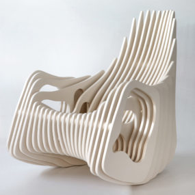 Plywood Rocking Armchair Mamulengo by Eduardo Baroni
