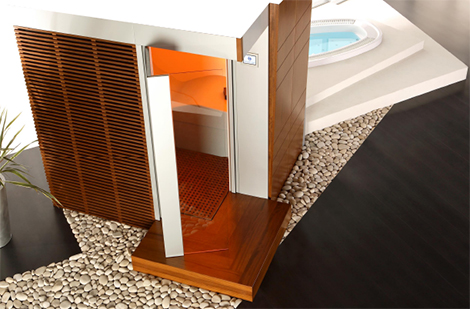 polisem sauna katharsys enrance Home Sauna from Spas Wellness   a sensational all in one sauna!