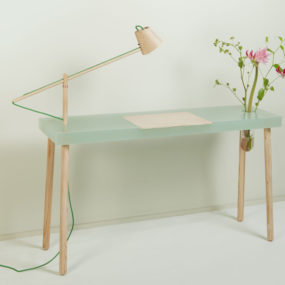 Polyester Resin Desk with Embedded Ash Lamp and Glass Vase