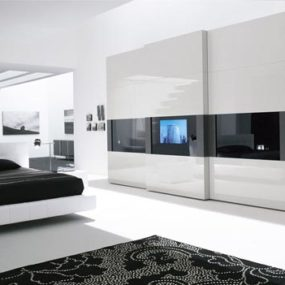 TV Wardrobe with HDTV from Presotto Italia – the Tecnopolis Sliding Door Wardrobe