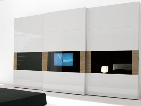presotto italia wardrobe tv tecnopolis TV Wardrobe with HDTV from Presotto Italia   the Tecnopolis Sliding Door Wardrobe