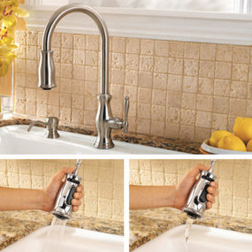 New Price Pfister kitchen faucet – the Hanover traditional pull-down faucet with Anti-Splash Spray Volume Control