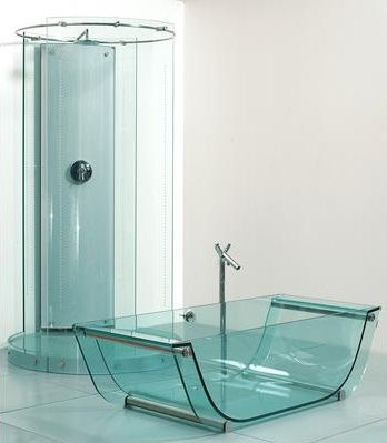Prizma Glass Tub Shower Sink Glass Bathroom Fixtures By Prizma The  Transparent Bathroom