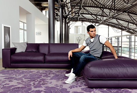 Purple Leather Sofa DitreItalia Blob 1