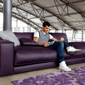 Purple Leather Sofa by Ditre Italia – 'Blob' oversized