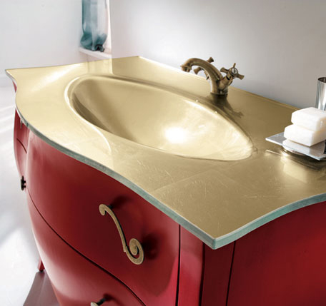 Rab Arredobagno 700 vanity with Gold countertop