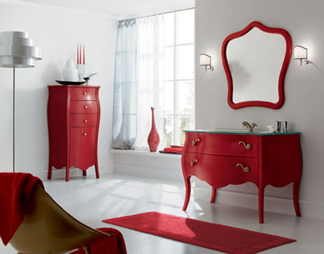 rab arredobagno red vanity 700 Elegant Vanity Set by Rab Arredobagno   ideal for transitional interiors