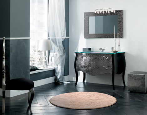 Rab Arredobagno 700 vanity in Black with matching mirror and puff